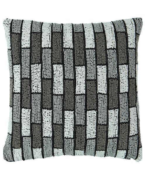 "Mod Lifestyles Black Onyx Collection Allover Beads Mosaic Embroidery Pillow, 14"" X 14"""
