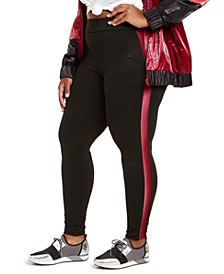 Trendy Plus Size Side-Stripe Leggings