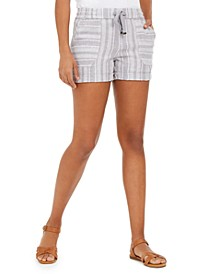 Petite Striped Linen-Blend Pull-On Shorts, Created for Macy's
