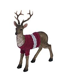 Resin Red Christmas Standing Sweater/Scarf Reindeer Figurine - Set of 2