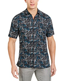 Men's Stretch Leaf Grid-Print Shirt, Created for Macy's