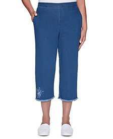 Pearls of Wisdom Embroidered Cropped Pull-On Pants