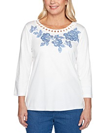 Pearls of Wisdom Embroidered Cutout-Trim Top