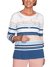 Pearls of Wisdom Embellished-Neck Striped Top