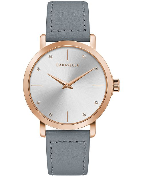 Caravelle Women's Gray Leather Strap Watch 36mm