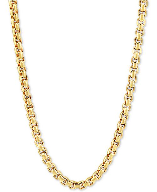 "Macy's Rounded Box Link 22"" Chain Necklace in 18k Gold-Plated Sterling Silver"