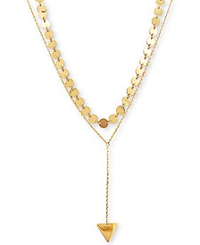 Two-Layer Multi-Disc & Triangle Lariat Necklace in 14k Gold