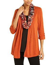 Layered-Look Removable-Scarf Cardigan