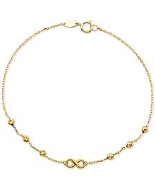 Diamond Infinity & Textured Bead Link Bracelet in 10k Gold