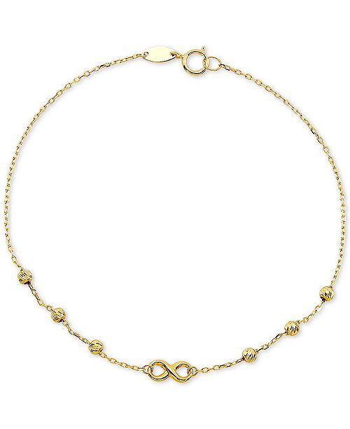 Macy's Diamond Infinity & Textured Bead Link Bracelet in 10k Gold