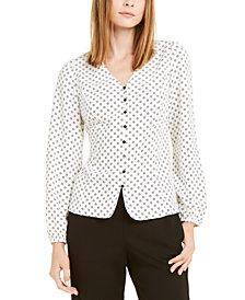 Alfani Printed Tie-Back Blouson Top, Created For Macy's