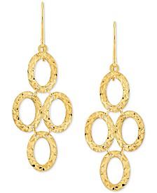 Textured Oval Ring Chandelier Drop Earrings in 10k Gold