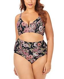 Trendy Plus Size Juniors' Wild Romance Printed Byron V-Wire Bikini Top & High-Waist Bottoms