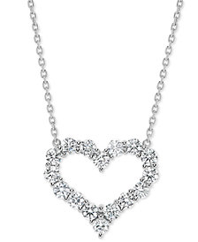 "Diamond Open Heart 18"" Pendant Necklace (1-1/2 ct. t.w.) in 14k White Gold"