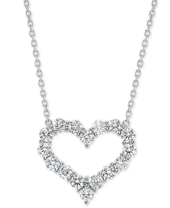 "Macy's Diamond Open Heart 18"" Pendant Necklace (1-1/2 ct. t.w.) in 14k White Gold"