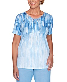 Petite Garden Party Abstract Ombré Printed Top