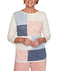 Petite Pearls Of Wisdom 2019 Colorblocked Pointelle-Knit Sweater