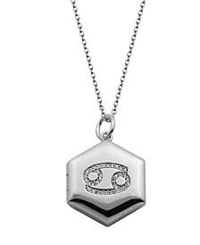 "Silver-Tone Cubic Zirconia Astrological Locket Necklace, 18"""
