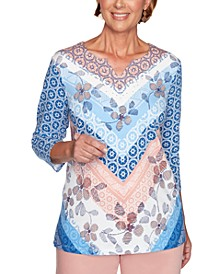 Pearls of Wisdom Mixed-Print V-Notch Top