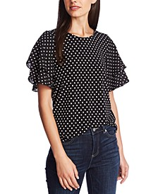 Dotted Flutter-Sleeve Top