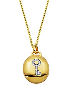 Gold-Tone Cubic Zirconia Oval Locket with  Key design