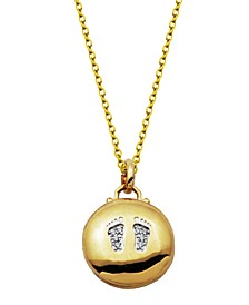 Gold-Tone Cubic Zirconia Round Locket with Foot Prints design