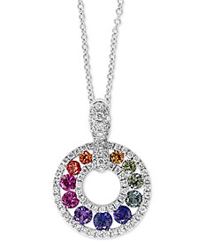 "EFFY® Multi-Gemstone (3/4 ct. t.w.) & Diamond (1/3 ct. t.w.) Rainbow Circle 18"" Pendant Necklace in 14k White Gold"