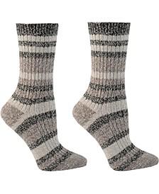 Women's 2-Pk. Super Soft Canyon Stripe Crew Socks