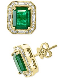 EFFY® Emerald (2-7/8 ct. t.w.) & Diamond (1/3 ct. t.w.) Stud Earrings in 14k Gold