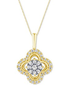 Diamond Clover Adjustable Pendant Necklace (1/2 ct. t.w.) in 14k Gold & White Gold