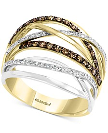 EFFY® Multi-Color Diamond Crossover Two-Tone Statement Ring (1/2 ct. t.w.) in 14k Gold and 14k White Gold