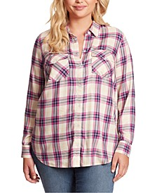Trendy Plus Size Petunia Plaid Shirt