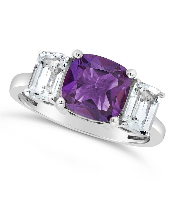 Macy's - Gemstone and White Topaz (1-3/8 ct. t.w) Ring in Sterling Silver. Available in Blue Topaz (2-3/4 ct. t.w.), Citrine (2 ct. t.w.) and Amethyst (2 ct. t.w.)