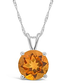Citrine (1-7/8 ct. t.w.) Pendant Necklace in Sterling Silver. Also Available in Sky Blue Topaz, Rose Quartz and Amethyst