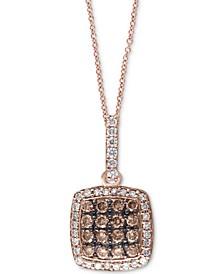 """EFFY® Espresso & White Diamond 18"""" Pendant Necklace (1/2 ct. t.w.) in 14k Rose Gold"""