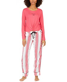 Twist-Front Top & Printed Pant Pajama Collection, Created For Macy's