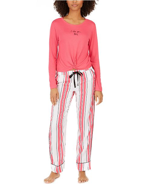 Jenni Twist-Front Top & Printed Pant Pajama Collection, Created For Macy's