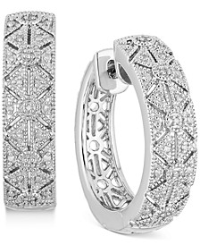 Diamond Filigree Small Hoop Earrings (1/6 ct. t.w.) in Sterling Silver, 0.9mm