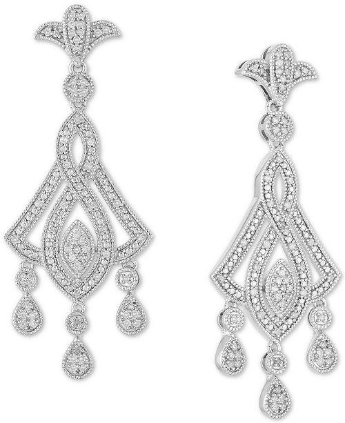 Macy's Diamond Openwork Chandelier Drop Earrings (1/2 ct. t.w.) in Sterling Silver