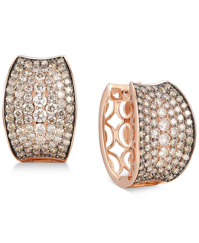 "Le Vian - Chocolate Diamond Small Hoop Earrings (4-1/20 ct. t.w.) in 14k Rose Gold, 0.87"""