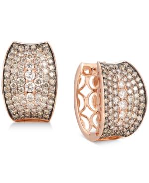 Chocolate Diamond Small Hoop Earrings (4-1/20 ct. t.w.) in 14k Rose Gold