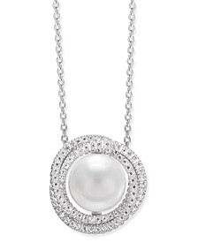 "Cultured White South Sea Pearl (12mm) & Diamond (1 ct. t.w.) Pendant Necklace in 14k White Gold, 16"" + 2"" extender"
