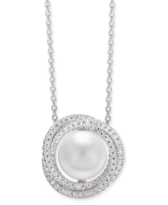 """Macy's - Cultured White South Sea Pearl (12mm) & Diamond (1 ct. t.w.) Pendant Necklace in 14k White Gold, 16"""" + 2"""" extender"""