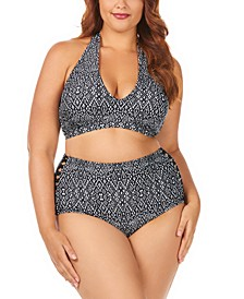 Trendy Plus Size Juniors' Mahina Printed Whitehaven Halter Bikini Top & High-Waist Bottoms