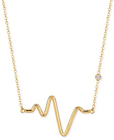 Diamond Accent Adjustable Heartbeat Pendant Necklace in 14k Gold-Plated Sterling Silver