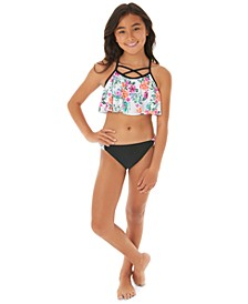Big Girls 2-Pc. Floral-Print Flounce Bikini Swim Suit