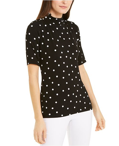 Alfani Dot-Print Snap-Button Top, Created for Macy's