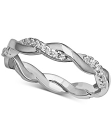 Cubic Zirconia twist Band in Sterling Silver, Created for Macy's
