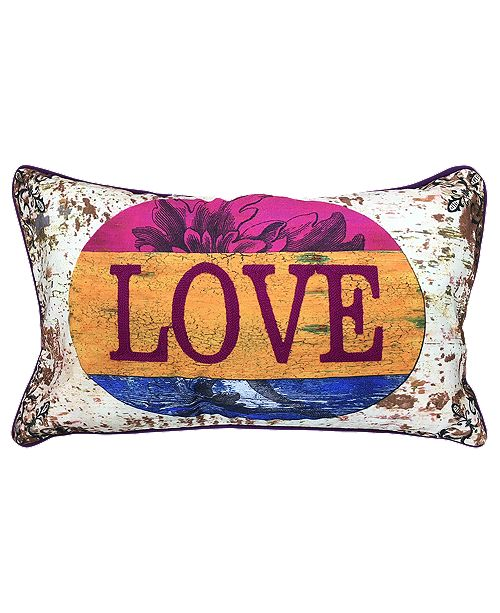 """Mod Lifestyles Decorative Collection Love Lumbar Pillow, 12"""" X 20"""""""