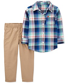 Toddler Boys 2-Pc. Cotton Plaid Shirt & Canvas Pants Set